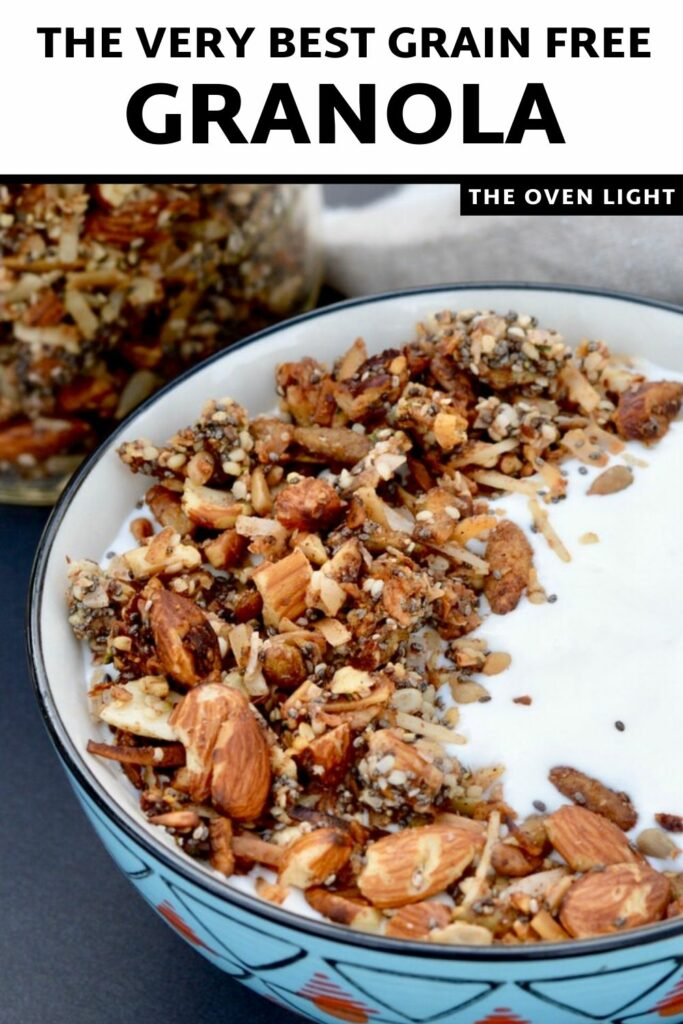 Grain Free Granola | Packed with protein and healthy fats, no refined sugar. Tates delicious on yogurt or just by the handful. Gluten free, grain free, refined sugar free! #granola #fallflavor #grainfree #paleo