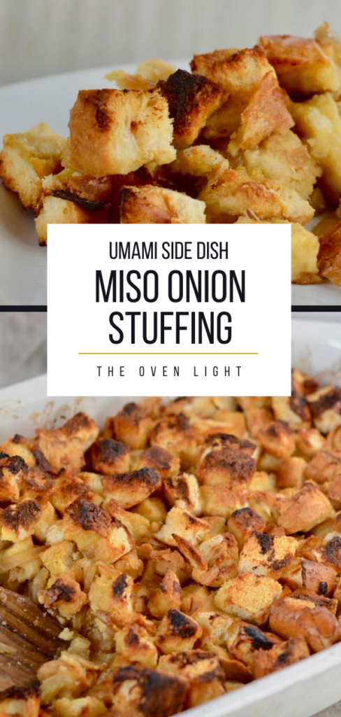 Miso Onion Stuffing Recipe - amazing umami flavored bread cubes. The most delicious side dish you'll ever make.