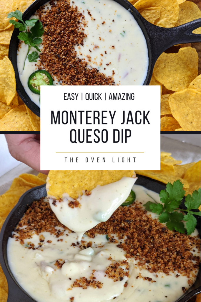The BEST queso dip with jalapeño, red onion, monterey jack cheese. Topped with bread crumbs, jalapeños and cilantro. Seriously the most amazing queso ever.