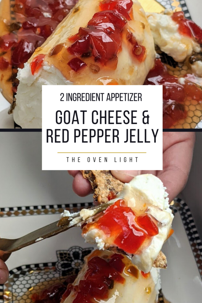 Goat Cheese and Red Pepper Jelly Appetizer | only 2 ingredients. The perfect party appetizer. Sweet, spicy and tart, the perfect combination!