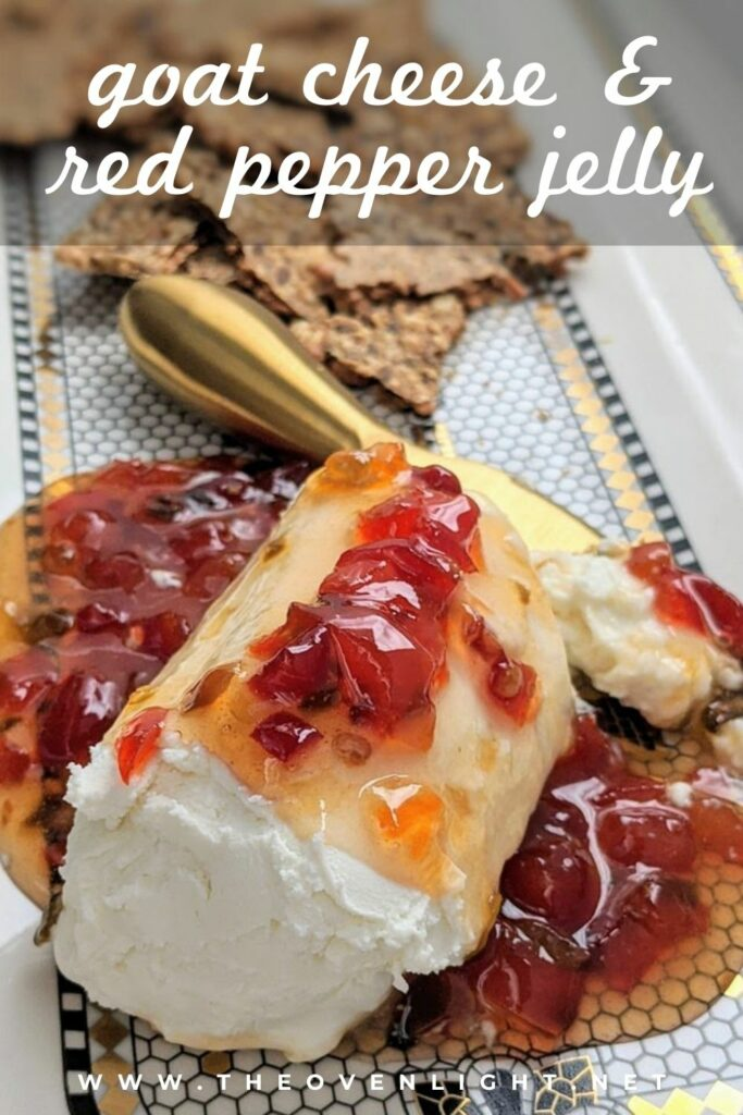 Goat Cheese and Red Pepper Jelly Appetizer | only 2 ingredients. The perfect party appetizer. Sweet, spicy and tart, the perfect combination! #appetizer #simplerecipe #entertaining