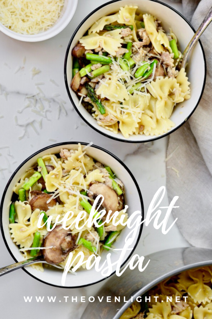 Asparagus Mushroom Turkey Sausage Bow Tie Pasta with Olive Oil and Parmesan | Simple recipe but so delicious. #asparagus #pastanight #mushrooms #italiansausage