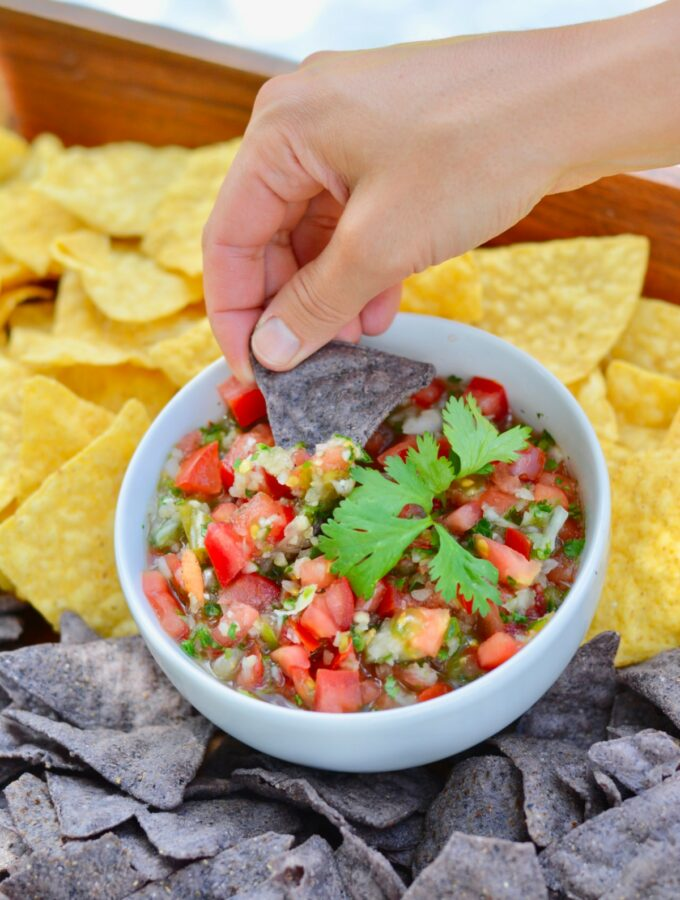 Simple Pico de Gallo recipe made with one amazing secret ingredient. Add the perfect touch of sweet, savory, spice to this fresh salsa. #salsa #picodegallo #Mexican