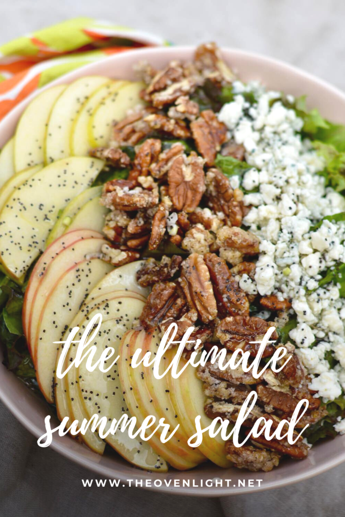 Delicious summer salad with candied spiced pecans, apples, blue cheese and homemade poppy seed dressing. YUM! #summersalad #salad #candiedpecans #bluecheese #poppyseed