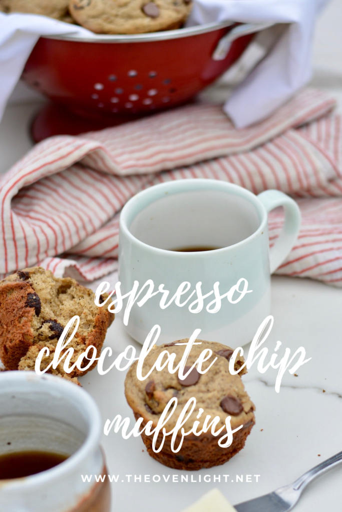Deliciously moist and easy espresso chocolate chip muffins. Now you can eat your coffee too! #espresso #chocolatechips #muffin #muffinrecipe