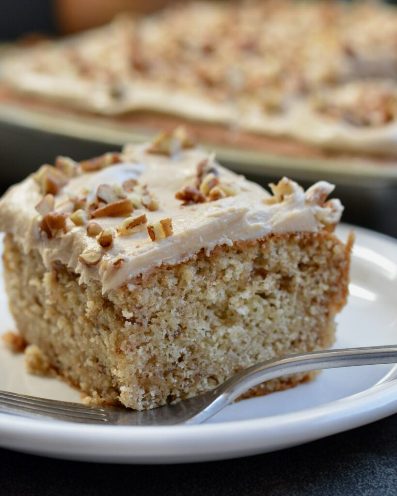 Soft Pecan Cake with Maple Buttercream Frosting | Simple gluten free recipe perfect for the holidays!