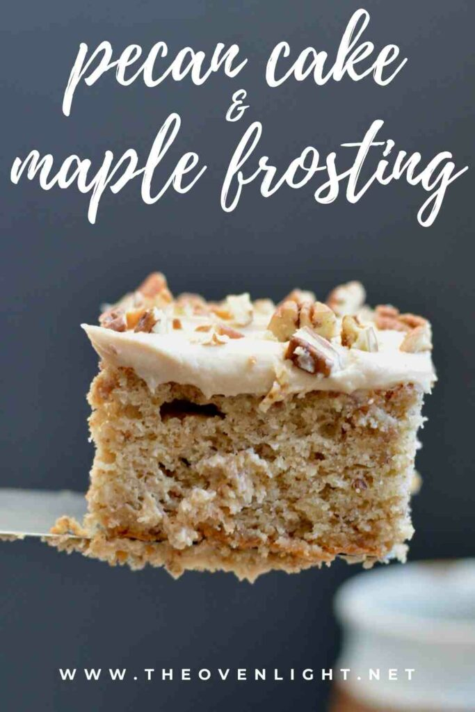 Gluten Free Soft Pecan Cake with Maple Buttercream Frosting | Simple gluten free recipe perfect for the holidays! #glutenfree #pecan #cake #maple #frosting #holidaycake