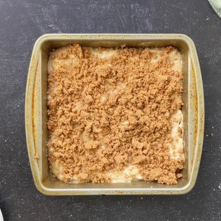Add half of crumble mixture.