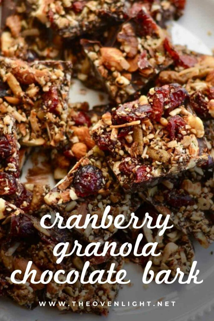 Cranberry Granola Chocolate Bark | Healthier snack for the holidays. Makes a great gift for friends and neighbors. Full of healthy nuts and seeds, only sweetened with chocolate. #granola #christmas #snack #cranberry