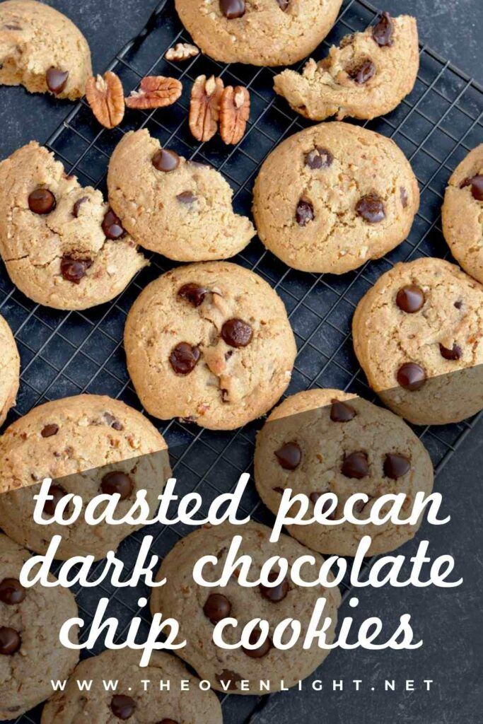 Toasted Pecan Dark Chocolate Chip Cookies | Made with lightly toasted sugared pecans and plenty of dark chocolate chunks, these cookies are an indulgent treat! #cookierecipe #pecans #darkchocolate