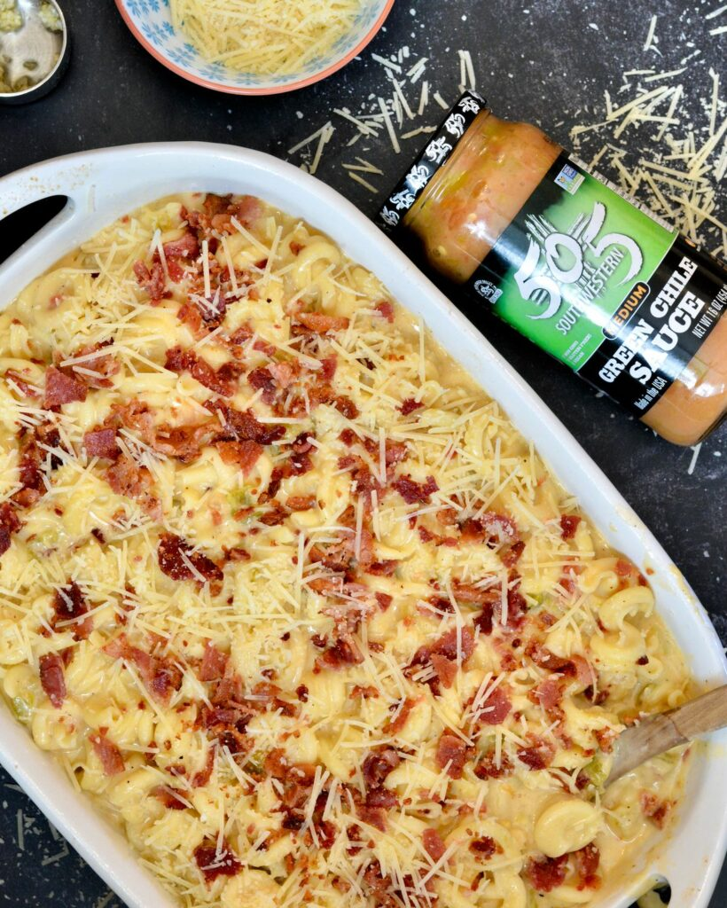 505 Southwestern Hatch Green Chiles Macaroni & Cheese Recipe - The ultimate cheesy pasta with the perfect amount of spice, using 505SW™ Green Chile Sauce.