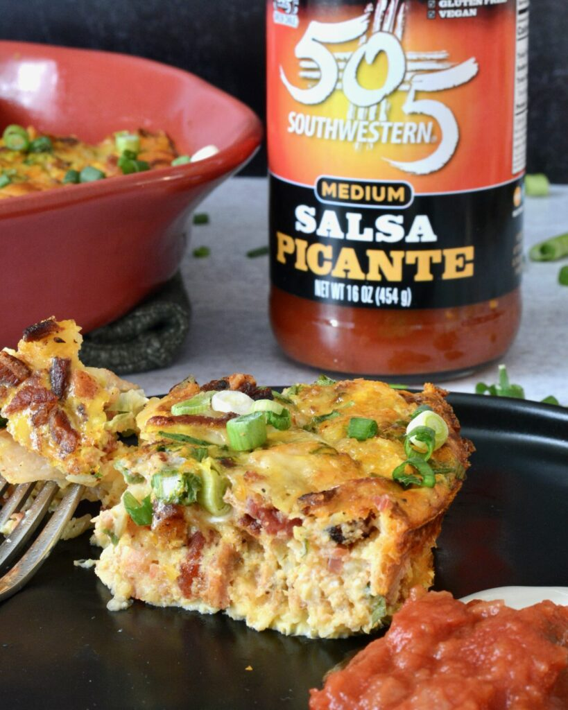 Crustless Cheese and Bacon Quiche with 505 Salsa Picante | Take breakfast to the next level with this simple recipe. Simply gluten free.