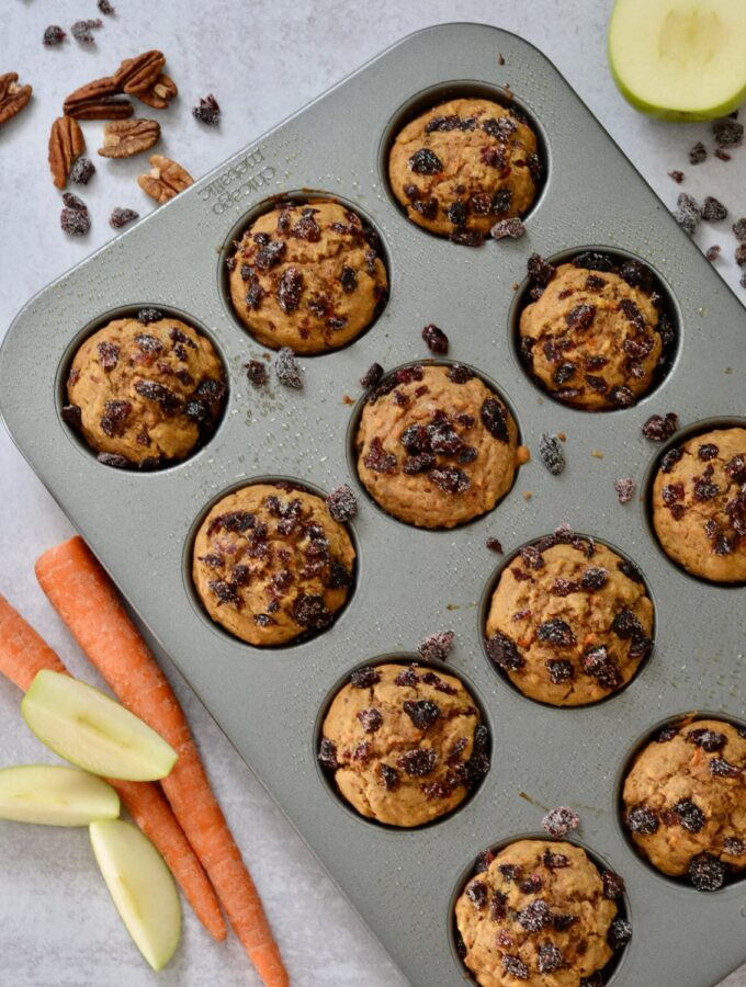 Super Healthy Morning Glory Muffins   carrots, apple, nuts, no refined sugar, gluten free and dairy free. Deliciously moist and a perfect grab and go breakfast.