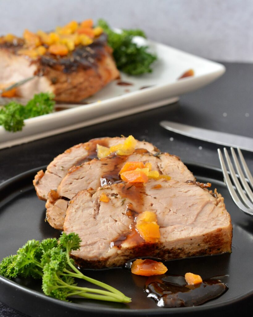 Sweet and Tender Apricot Balsamic Pork Loin | simple sauce and throw in the oven. A truly delicious and simple dinner for the whole family.