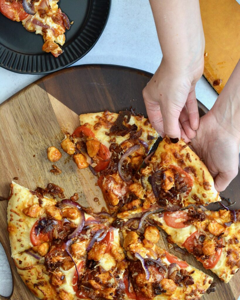 Amazing Buffalo Chicken Pizza | Made with our super popular no-rise time pizza dough and topped with a perfect combination of toppings. Simple weeknight meal comes together in minutes.