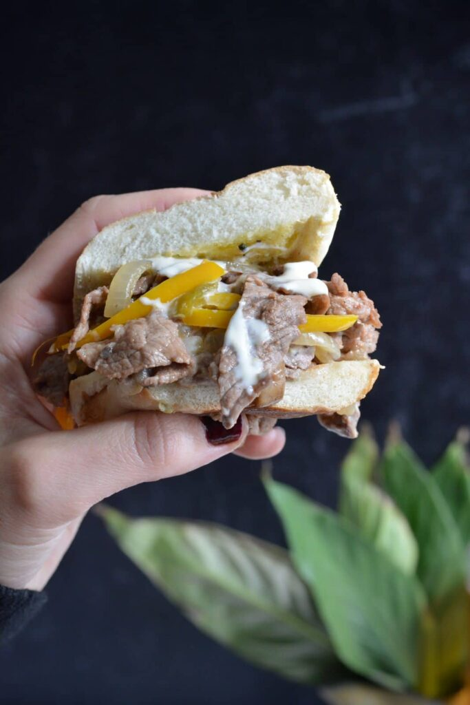 505 Southwestern® Pineapple Mango Salsa Cheesesteak with Queso Blanco | Amazingly delicious take on a classic Philly Cheesesteak.