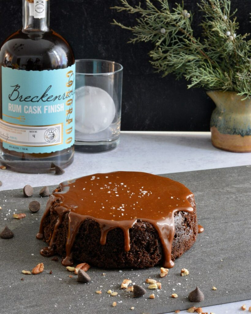 Breckenridge Distillery Bourbon Chocolate and Caramel Cake for 2 | 6 inch decadent cake perfect for a romantic dinner.