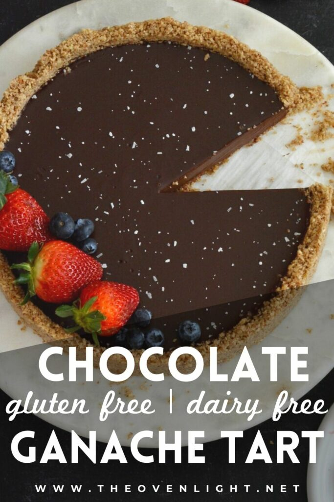 Gluten Free Dairy Free Chocolate Ganache Tart | Completely simple and delicious no-bake tart. Crust made with pecans and oats, filling made with dark chocolate and cream coconut milk. Feels indulgent without the guilt. #glutenfree #dairyfree #ganache