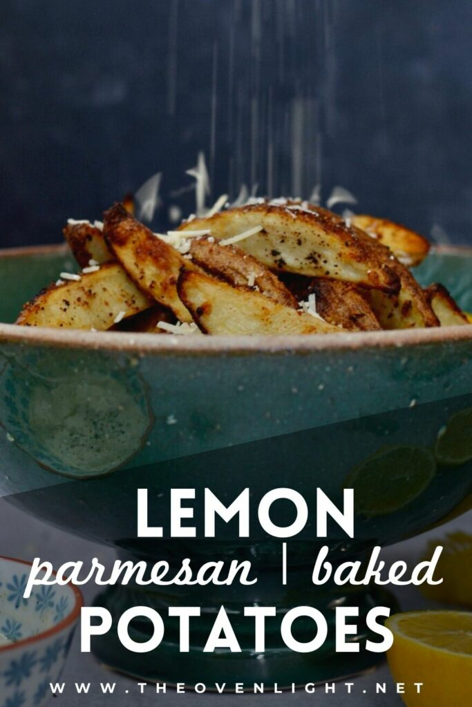 Lemon Parmesan Baked Potato Wedges | Skin-on Fries baked with lemon, butter and parmesan to create a completely delicious and surprising side dish. #potato #fries #baked #lemon #parmesan