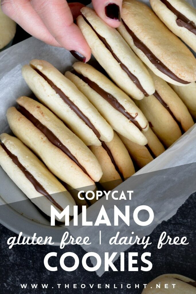 Copycat Milano Cookies | Gluten free and Dairy free. Perfectly crispy cookie with dark chocolate filling. Very simple recipe. #glutenfree #dairyfree #cookies