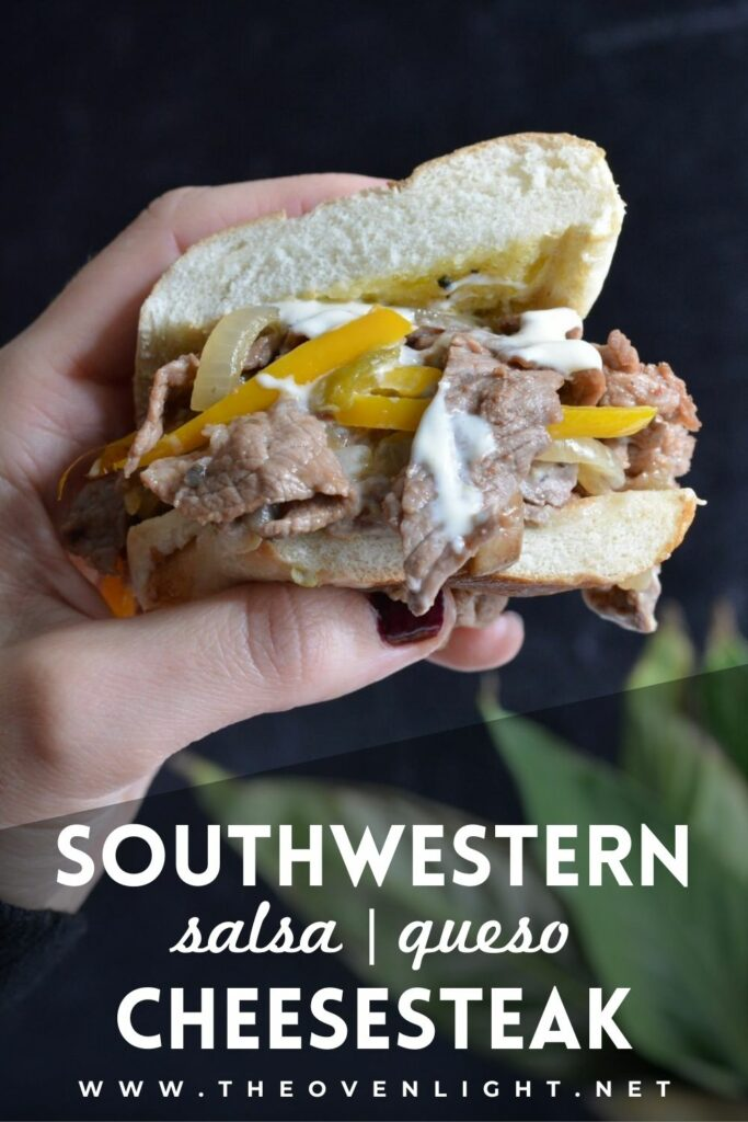 505 Southwestern® Pineapple Mango Salsa Cheesesteak with Queso Blanco | Amazingly delicious take on a classic Philly Cheesesteak. #505Southwestern #cheesesteak #sandwich