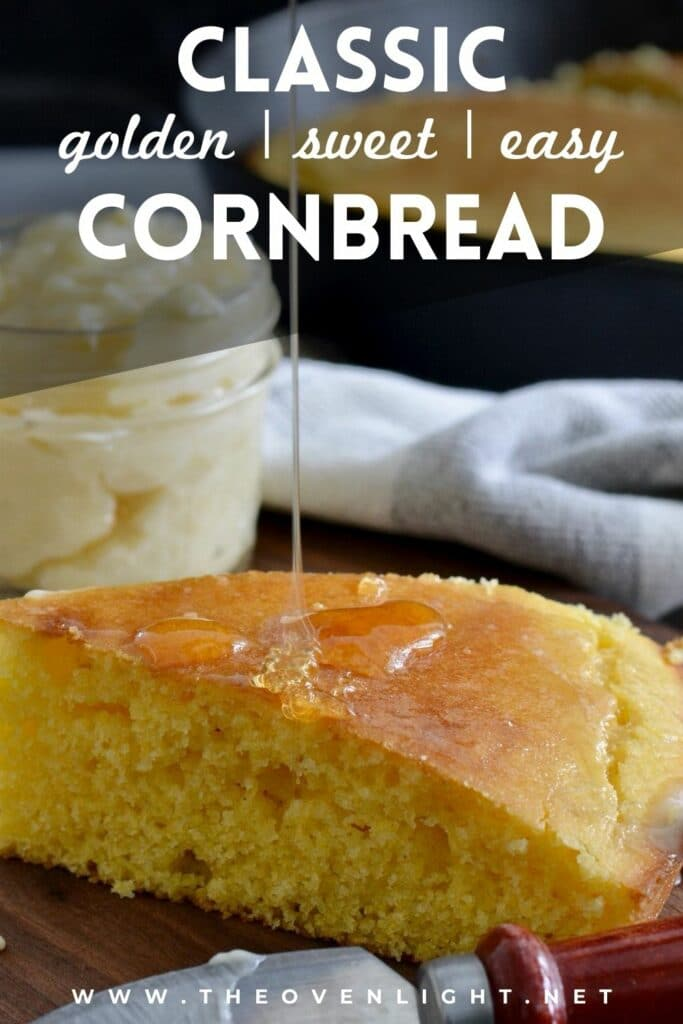 Delicious homemade golden sweet Cornbread recipe | Super simple recipe comes together in minutes. SO much better than a box mix. Plus, easy honey butter recipe! #cornbread #homemade #bbq