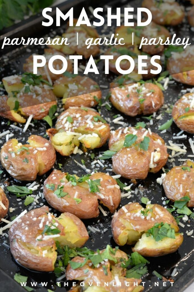 Crisp skin and tender inside, these smashed potatoes are bursting with flavor and are super simple to make. Goes great with just about ANY dinner. #potatoes #smashed #garlic