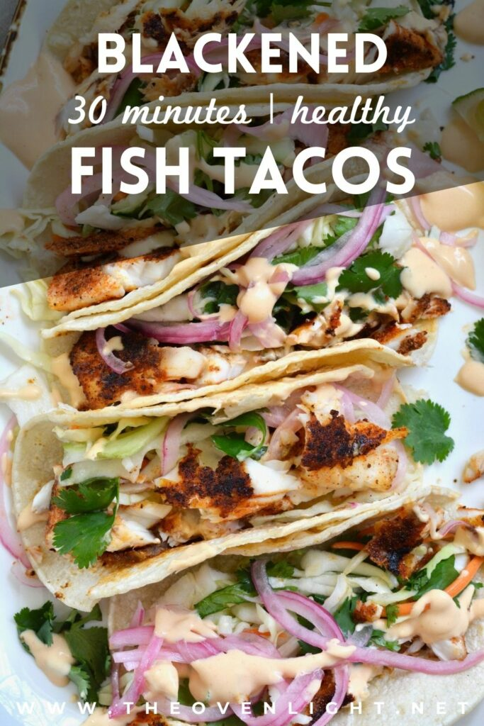 Super easy Blackened Fish Tacos with Tilapia, cilantro slaw and 2 ingredient sauce. Delicious taco night and summer meal. #weeknightmeal #fishtacos #taconight