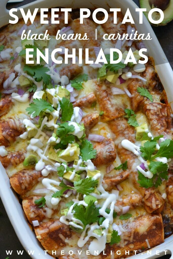 Delicious Make Ahead Enchiladas filled with Carnitas, Black Beans and Sweet Potatoes. Outstanding flavor combination of sweet, savory and spice. Simple homemade enchilada sauce recipe too! #enchiladas #sweetpotato #makeaheadmeals